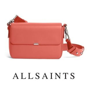 All Saints Coral Pink Captain Leather Crossbody